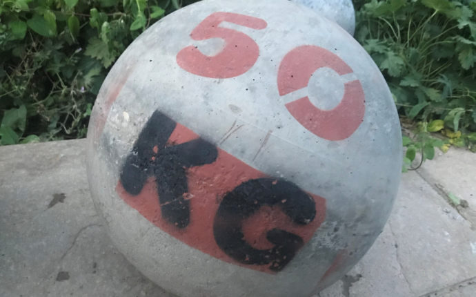A 50 kilogram powerlifting stone.