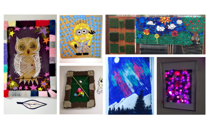 Lots of colourful art and craft projects, made by service users of The Autism Hub in York