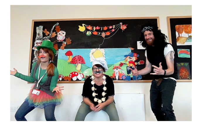 Staff from The Autism Hub in York are wearing fancy dress costumes - Isabel Bullon is dressed as a leprechaun on the left of the picture, Andrea Dixon is dressed as an Italian chef in the middle and Andrew Bowen is dressed as a rock star on the right.