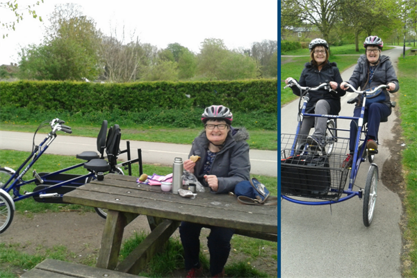 Ladies with specially adapted bikes